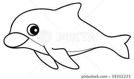 Bottlenose Dolphin Coloring Page Stock Illustration 39302233 Pixta