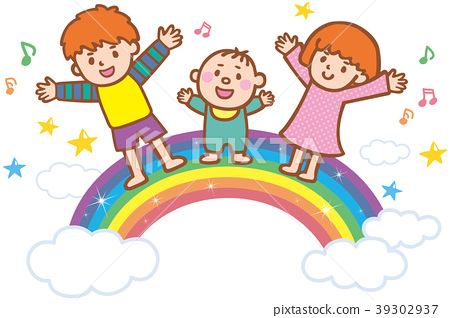 Children and rainbow 39302937