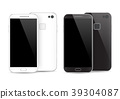 Modern black and white smartphone isolated.  39304087