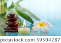 spa concept with candle, stone, flower and bamboo 39304287