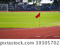 red flag at corner of football field 39305702