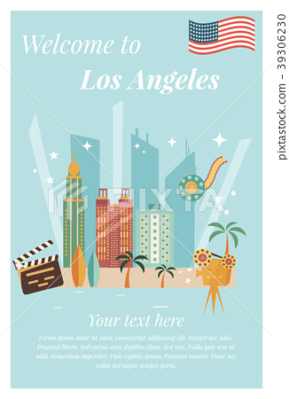 Welcome to Los Angeles vintage poster. 39306230
