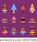 Wedding or Birthday pie cakes flat sweets dessert 39307084