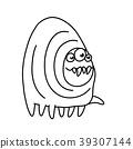 Toothy cartoon monster centipede. Vector 39307144
