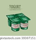 Digital vector detailed line art packed yogurt 39307151