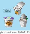 Digital vector detailed line art packed yogurt 39307153
