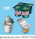 Digital vector detailed line art packed yogurt 39307159