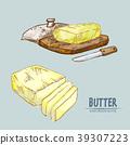 Digital vector detailed line art butter slices 39307223