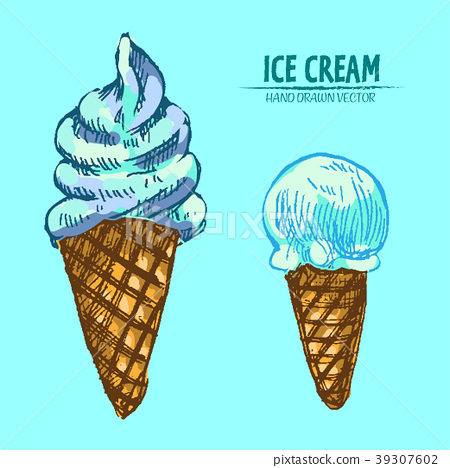 Digital vector detailed line art ice cream 39307602