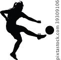soccer women silhouette girl player 39309106