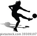 soccer women silhouette girl player 39309107