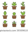 Set of vector cactus icons on white background. 39309610