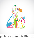 Vector group of pets colorful. Pet. Animal. 39309617