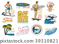 Surf badge and wave, palm tree and ocean. tropics 39310821