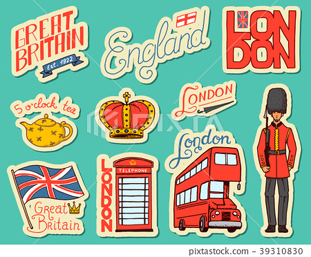 British vintage stickers, Crown and Queen, teapot 39310830