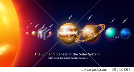 planets in solar system. moon and the sun, mercury 39310862