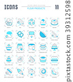 Set Blue Line Icons of Flour Products. 39312598