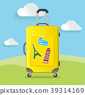 Travel bag with different travel elements vector,  39314169