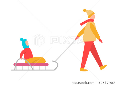 Father Carrying Child Sledge Vector Illustration 39317907