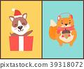 Teddy Bear in Santa Claus Hat in Gift Box Squirrel 39318072
