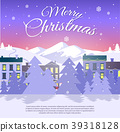 Postcard with Merry Christmas on City Background 39318128