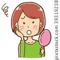 遭受丘疹的妇女的例证 39319238