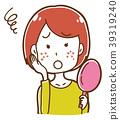 遭受丘疹的妇女的例证 39319240