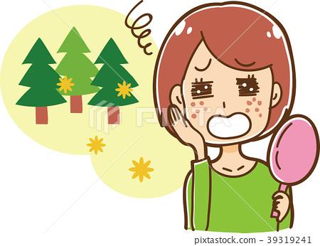 hay fever, cedar pollen, female 39319241