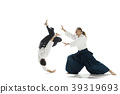 The two men fighting at Aikido training in martial 39319693