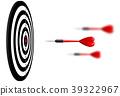 Vector red dart arrows flying to target dartboard 39322967
