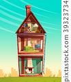 Vector cartoon multistorey house interior in 39323734
