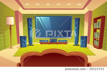 Vector cartoon home theater, audio video system 39323741