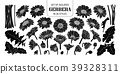 Set of isolated silhouette gerbera in 26 styles. 39328311