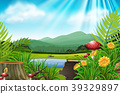 Background scene with mountain and lake 39329897
