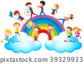 Children playing music over the rainbow 39329933