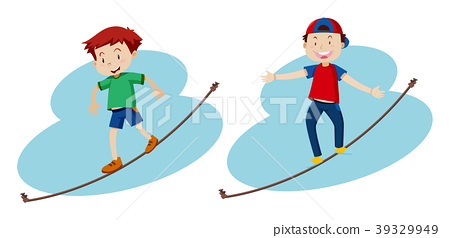 Two boys walking on the rope 39329949