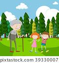 child, grandfather, park 39330007