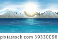 Nature scene with snow mountains and lake 39330096