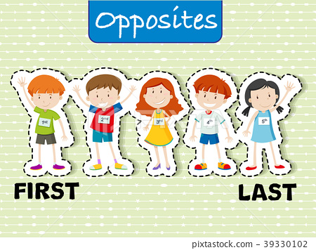 Opposite words for first and last 39330102