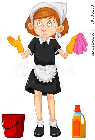 Female cleaner with cleaning equipments 39330153