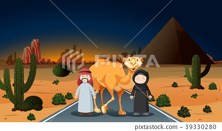 Arab couple with camel on the desert 39330280