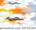 Four fighting jet in orange sky 39330284