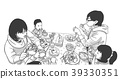 Family with children eating at restaurant 39330351