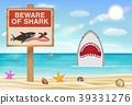 beware of shark sign on sea sand beach 39331276