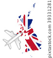 airplane flight travel to England flag map 39331281