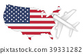 airplane flight travel to America flag map 39331282