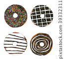 Set of Watercolor Chocolate Donuts  39332311