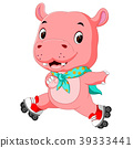 cute hippo playing roller skates 39333441