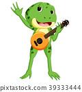Green frog playing guitar 39333444