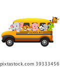 Illustration of school bus filled with animals 39333456